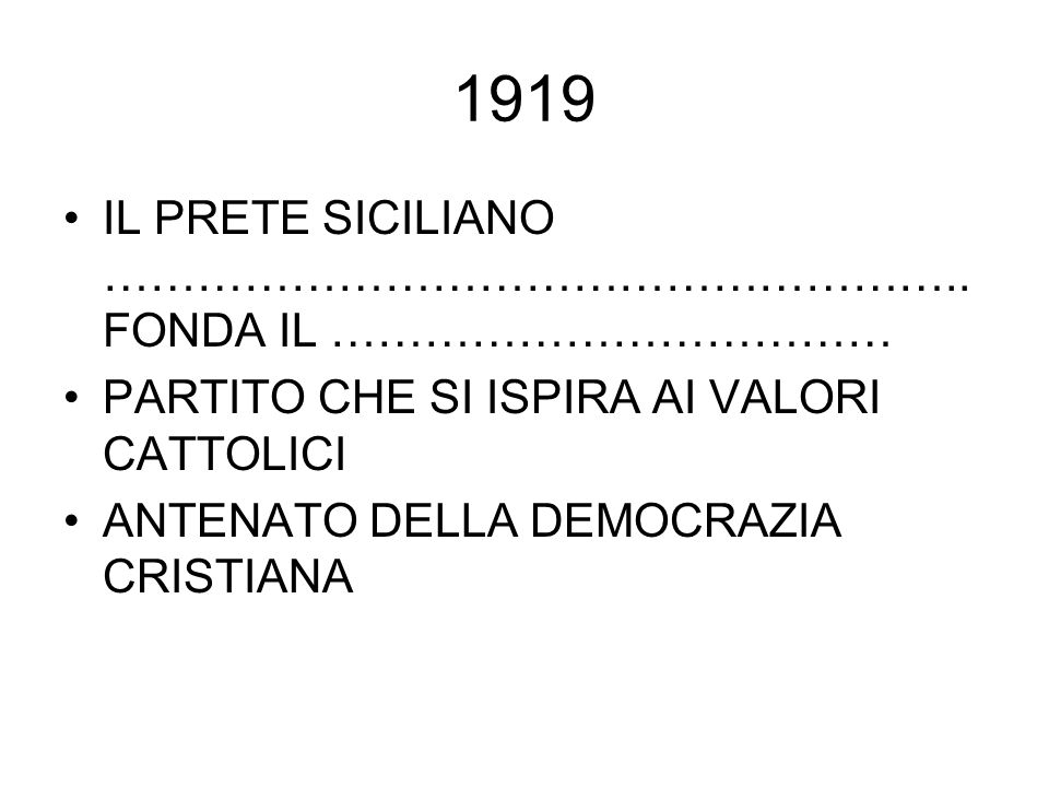 1919 IL PRETE SICILIANO ………………………………………………..FONDA IL ………………………………