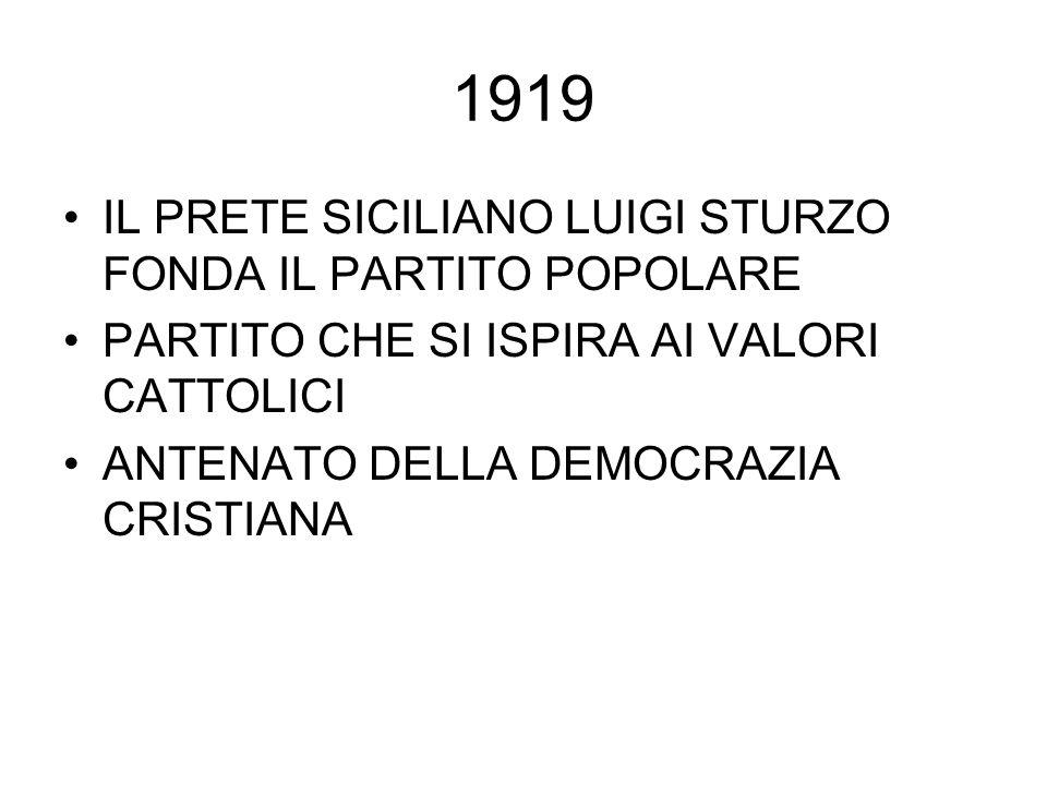 1919 IL PRETE SICILIANO LUIGI STURZO FONDA IL PARTITO POPOLARE