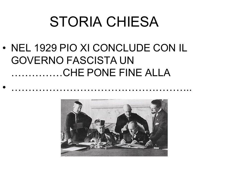 STORIA CHIESA NEL 1929 PIO XI CONCLUDE CON IL GOVERNO FASCISTA UN ……………CHE PONE FINE ALLA.