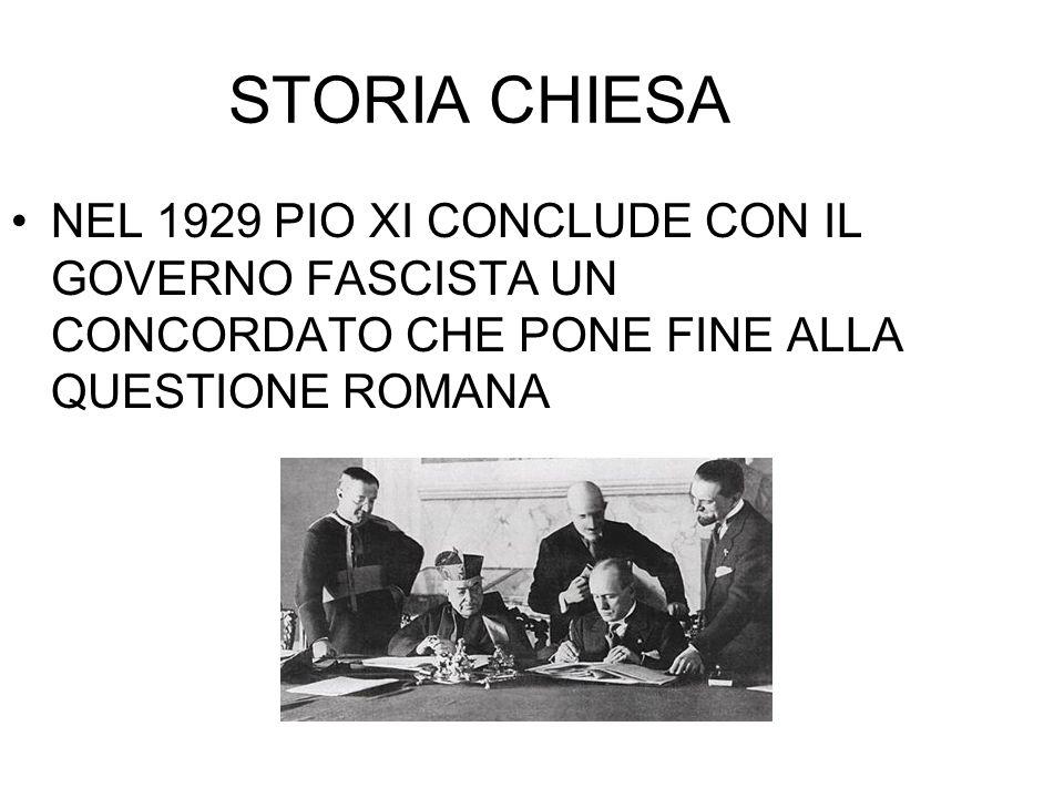 STORIA CHIESA NEL 1929 PIO XI CONCLUDE CON IL GOVERNO FASCISTA UN CONCORDATO CHE PONE FINE ALLA QUESTIONE ROMANA.