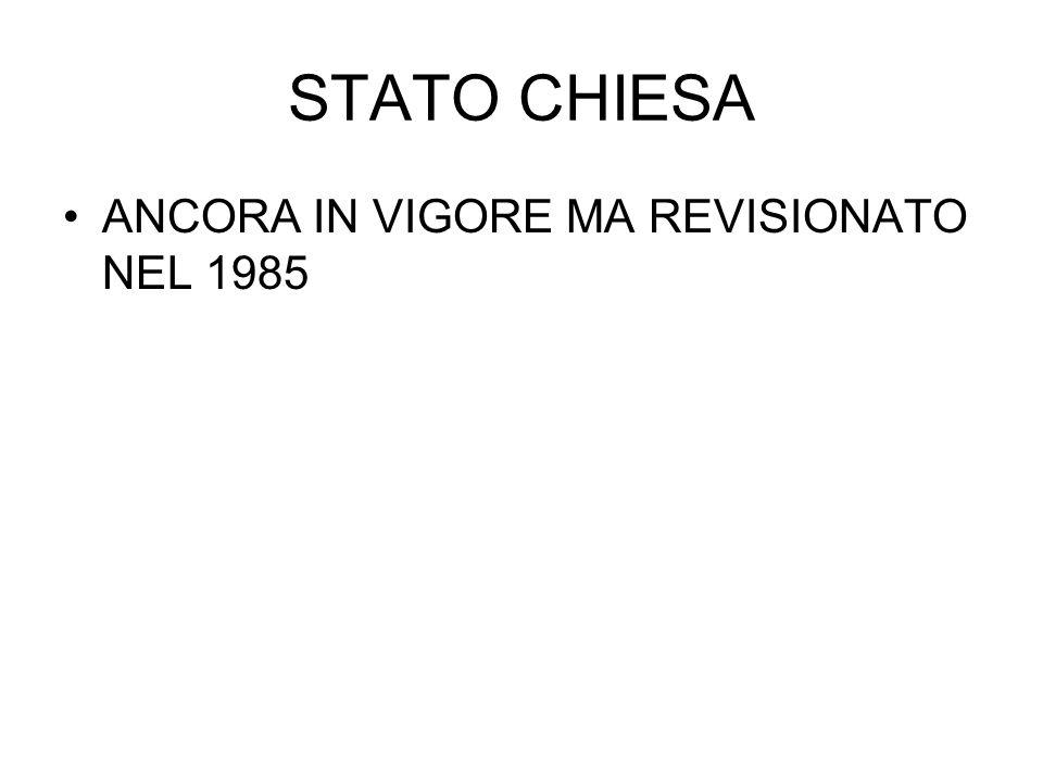 STATO CHIESA ANCORA IN VIGORE MA REVISIONATO NEL 1985