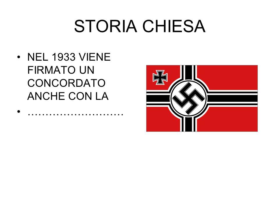 STORIA CHIESA NEL 1933 VIENE FIRMATO UN CONCORDATO ANCHE CON LA