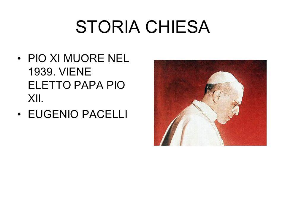 STORIA CHIESA PIO XI MUORE NEL 1939. VIENE ELETTO PAPA PIO XII.