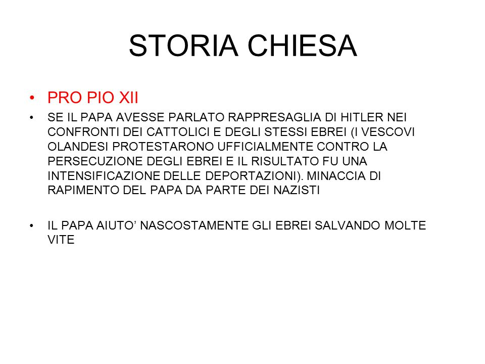 STORIA CHIESA PRO PIO XII