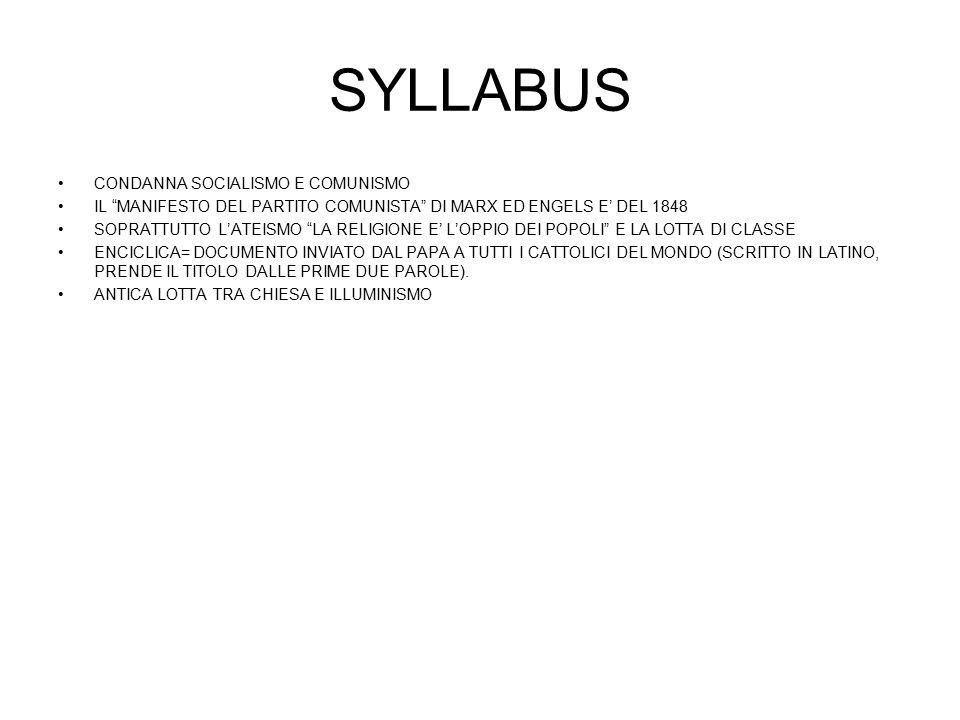 SYLLABUS CONDANNA SOCIALISMO E COMUNISMO