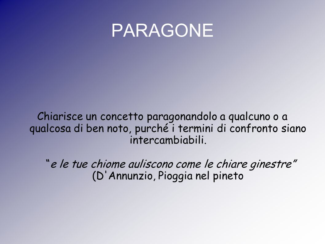 PARAGONE Chiarisce un concetto paragonandolo a qualcuno o a qualcosa di ben noto, purché i termini di confronto siano intercambiabili.