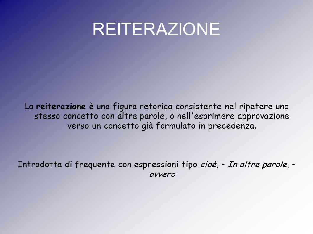 REITERAZIONE
