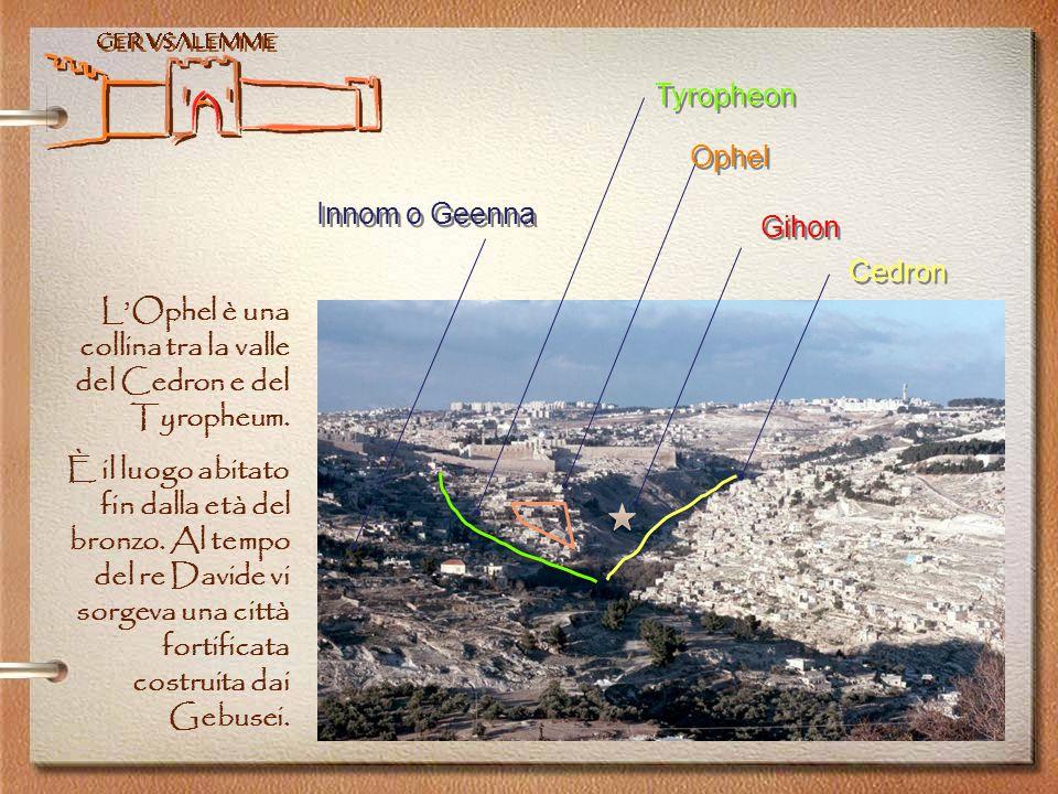Tyropheon Ophel. Innom o Geenna. Gihon. Cedron. L'Ophel è una collina tra la valle del Cedron e del Tyropheum.