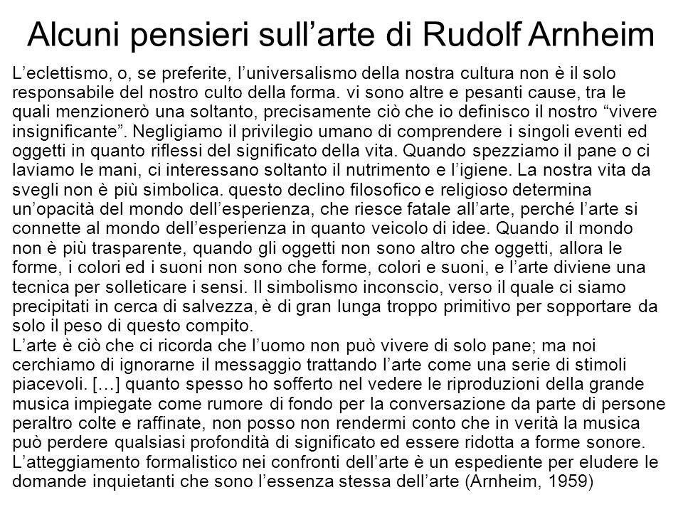 Alcuni pensieri sull'arte di Rudolf Arnheim