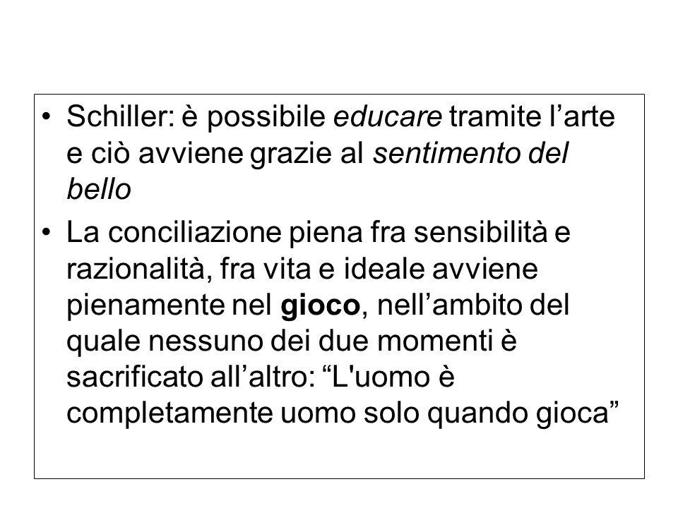 Schiller: è possibile educare tramite l'arte e ciò avviene grazie al sentimento del bello