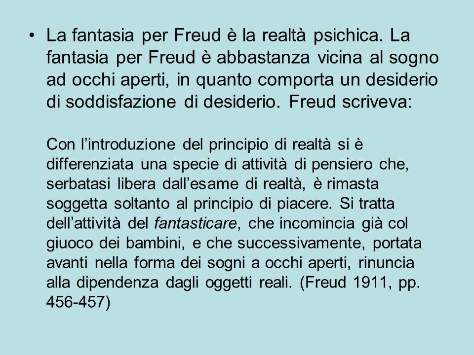 La fantasia per Freud è la realtà psichica