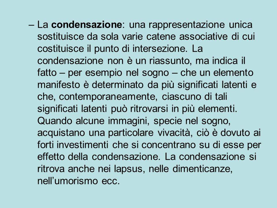 La condensazione: una rappresentazione unica sostituisce da sola varie catene associative di cui costituisce il punto di intersezione.