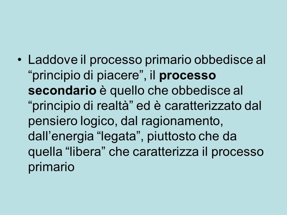 Laddove il processo primario obbedisce al principio di piacere , il processo secondario è quello che obbedisce al principio di realtà ed è caratterizzato dal pensiero logico, dal ragionamento, dall'energia legata , piuttosto che da quella libera che caratterizza il processo primario