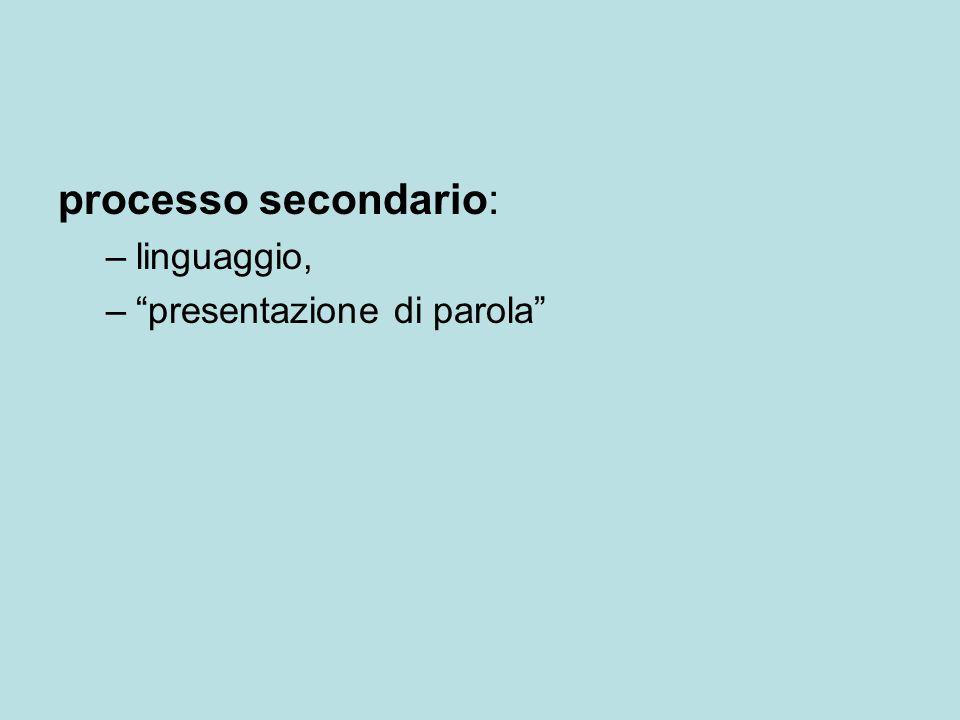 processo secondario: linguaggio, presentazione di parola