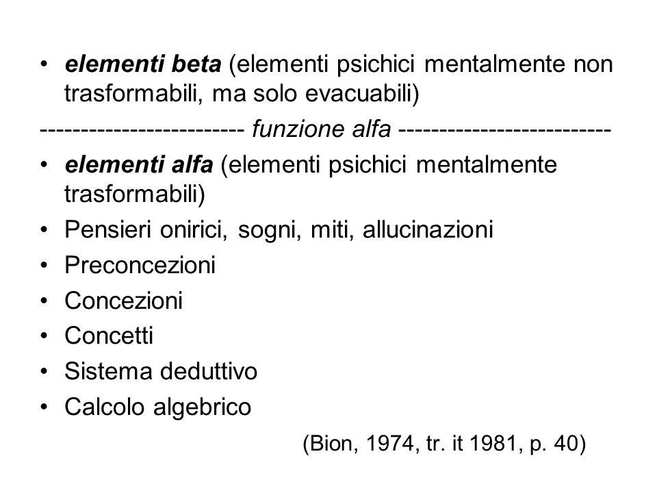 elementi beta (elementi psichici mentalmente non trasformabili, ma solo evacuabili)