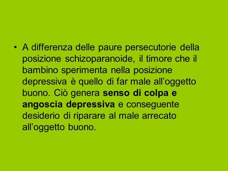 A differenza delle paure persecutorie della posizione schizoparanoide, il timore che il bambino sperimenta nella posizione depressiva è quello di far male all'oggetto buono.