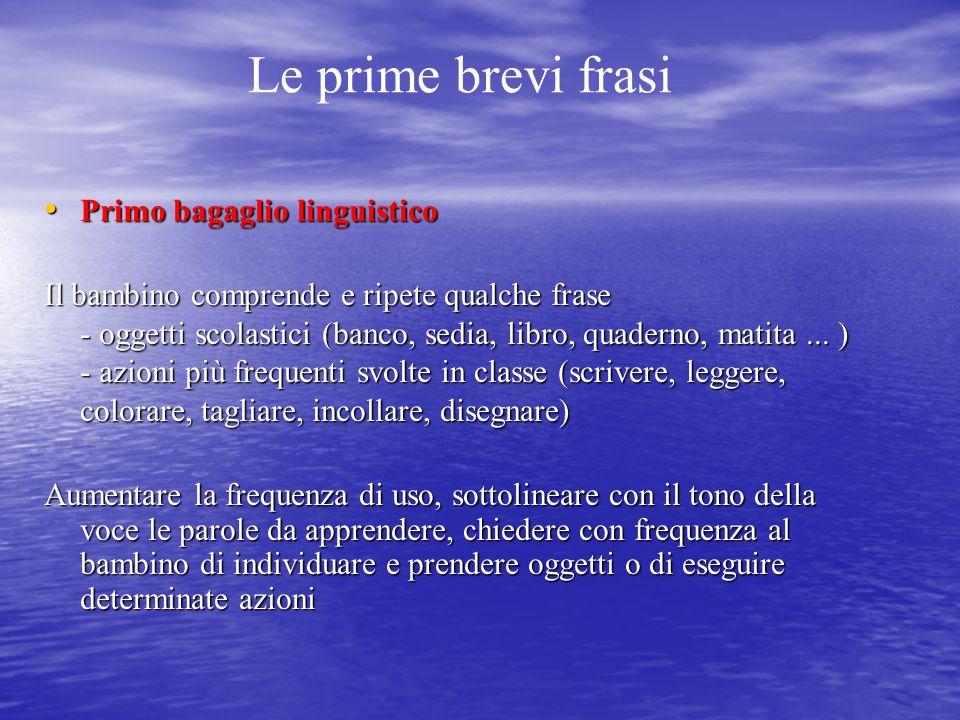 Le prime brevi frasi Primo bagaglio linguistico