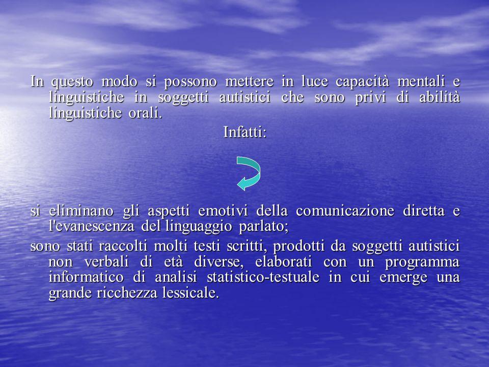 In questo modo si possono mettere in luce capacità mentali e linguistiche in soggetti autistici che sono privi di abilità linguistiche orali.
