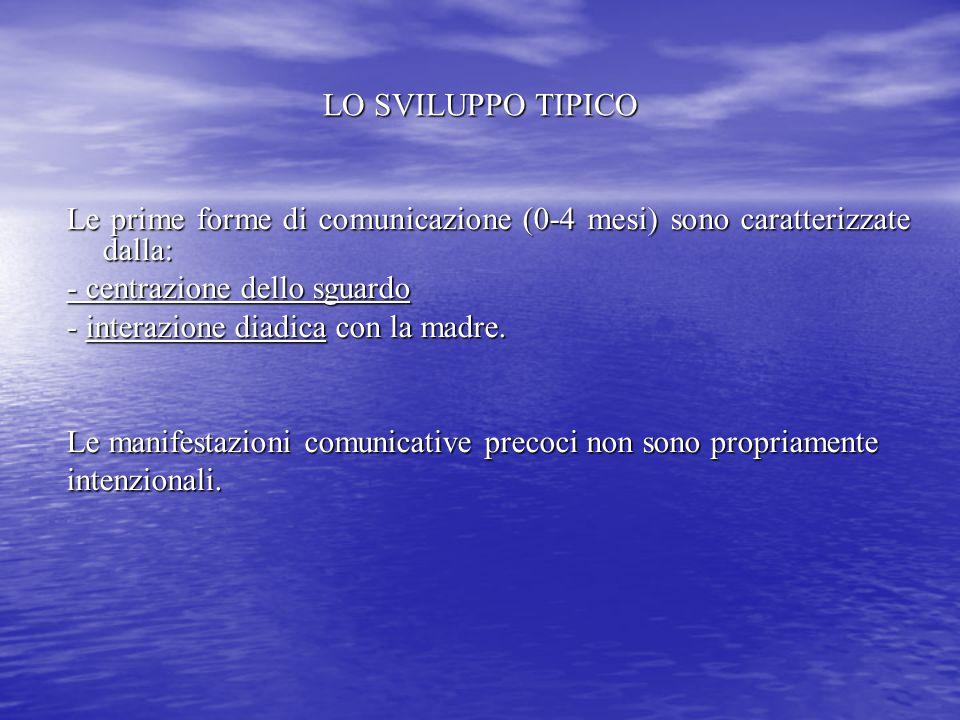 LO SVILUPPO TIPICO Le prime forme di comunicazione (0-4 mesi) sono caratterizzate dalla: - centrazione dello sguardo.