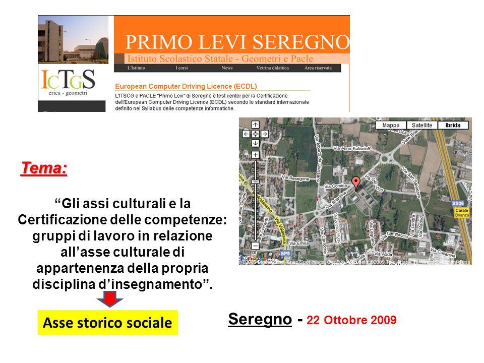 Tema: Seregno - 22 Ottobre 2009 Asse storico sociale