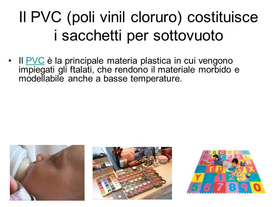 Il PVC (poli vinil cloruro) costituisce i sacchetti per sottovuoto