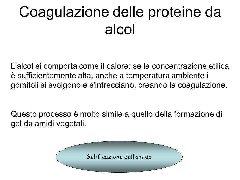 Coagulazione delle proteine da alcol