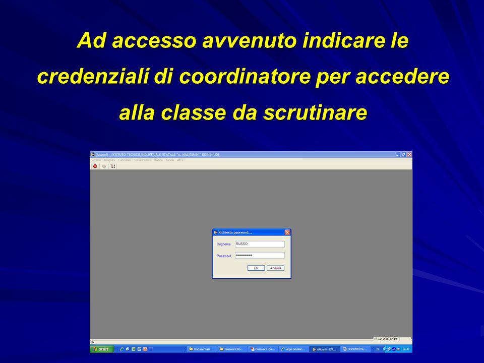 Ad accesso avvenuto indicare le credenziali di coordinatore per accedere alla classe da scrutinare