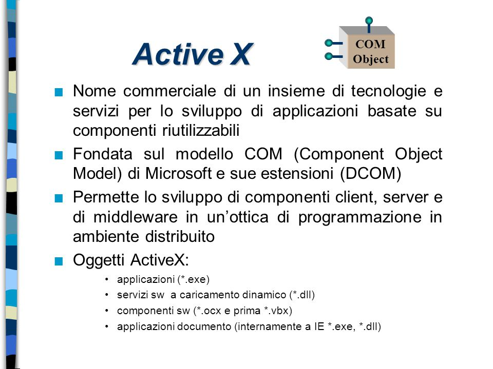 COM Object Active X. Nome commerciale di un insieme di tecnologie e servizi per lo sviluppo di applicazioni basate su componenti riutilizzabili.