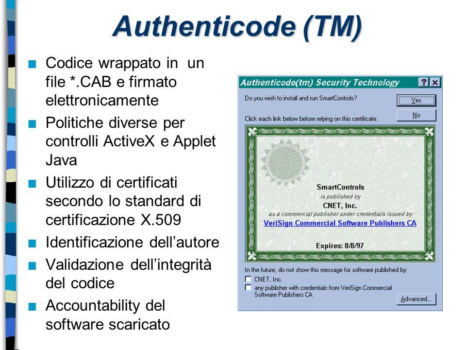 Authenticode (TM) Codice wrappato in un file *.CAB e firmato elettronicamente. Politiche diverse per controlli ActiveX e Applet Java.