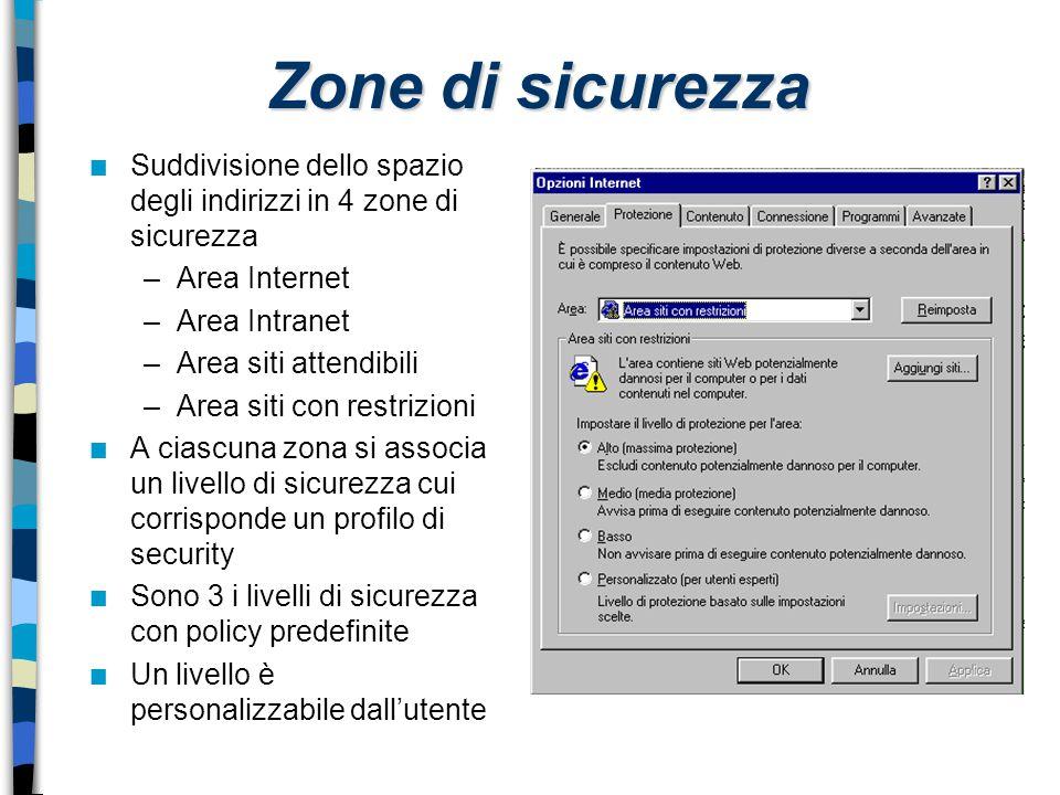 Zone di sicurezza Suddivisione dello spazio degli indirizzi in 4 zone di sicurezza. Area Internet.
