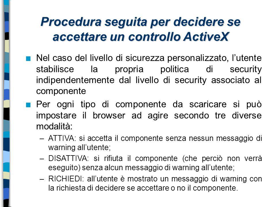 Procedura seguita per decidere se accettare un controllo ActiveX