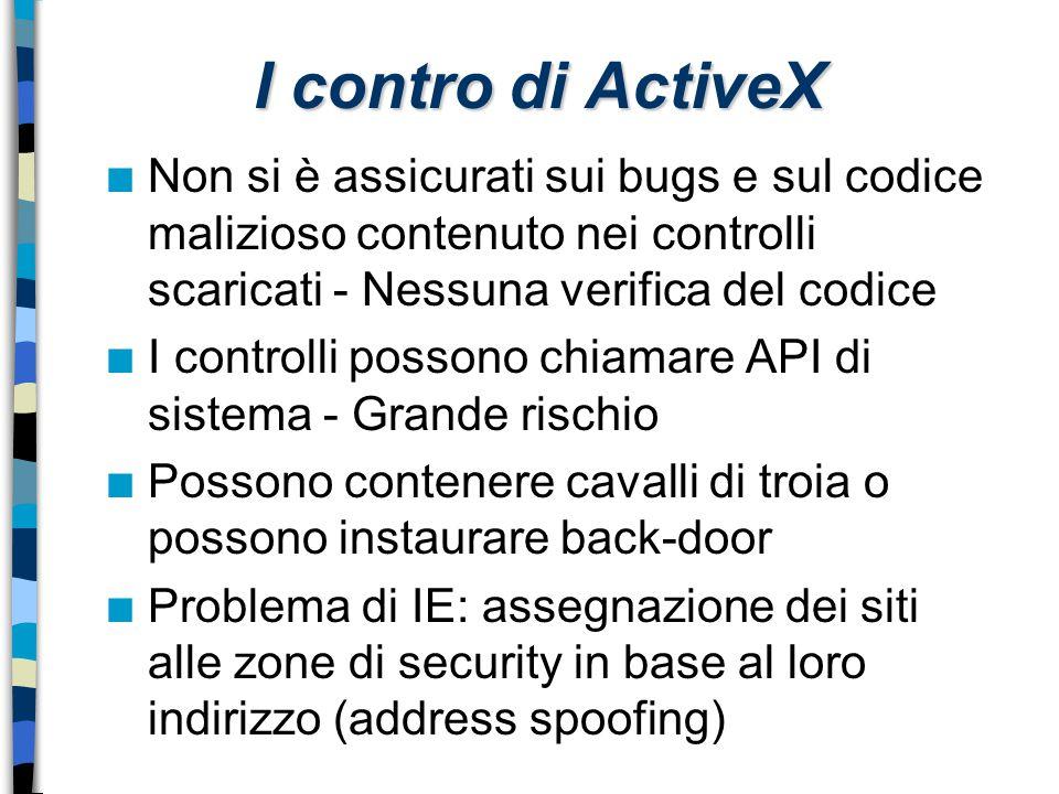 I contro di ActiveX Non si è assicurati sui bugs e sul codice malizioso contenuto nei controlli scaricati - Nessuna verifica del codice.