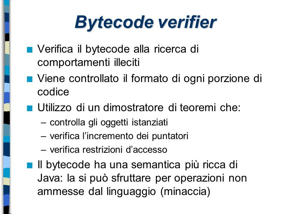 Bytecode verifier Verifica il bytecode alla ricerca di comportamenti illeciti. Viene controllato il formato di ogni porzione di codice.