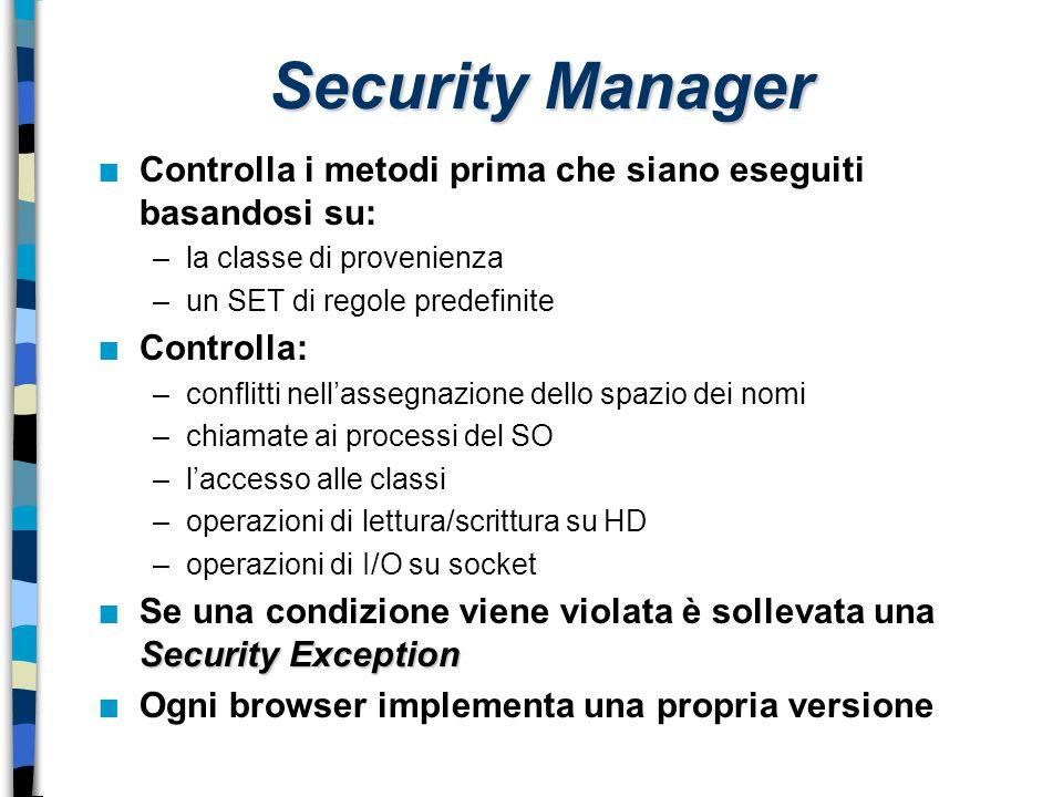 Security Manager Controlla i metodi prima che siano eseguiti basandosi su: la classe di provenienza.