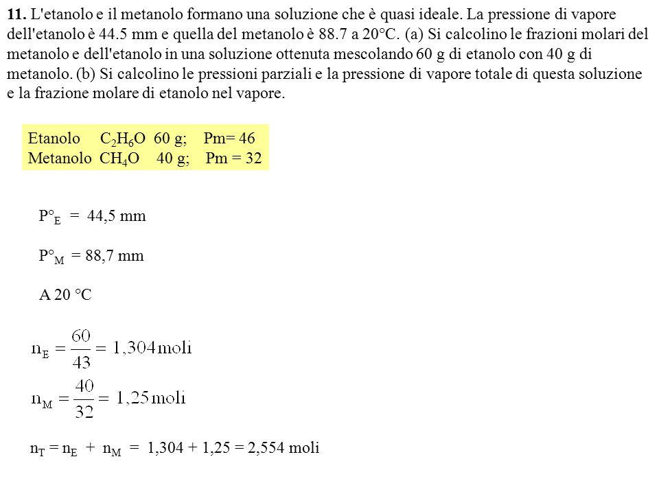 11. L etanolo e il metanolo formano una soluzione che è quasi ideale