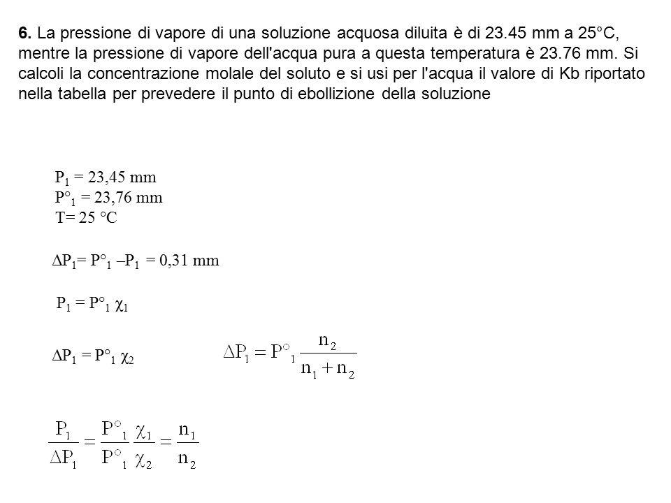 6. La pressione di vapore di una soluzione acquosa diluita è di 23