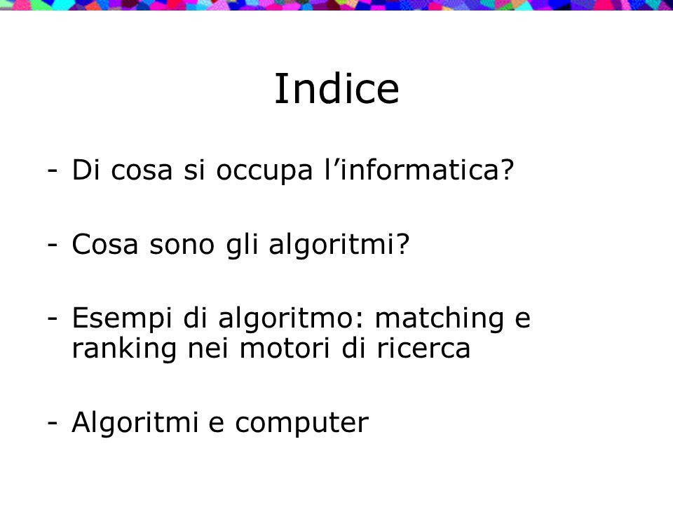 Indice Di cosa si occupa l'informatica Cosa sono gli algoritmi