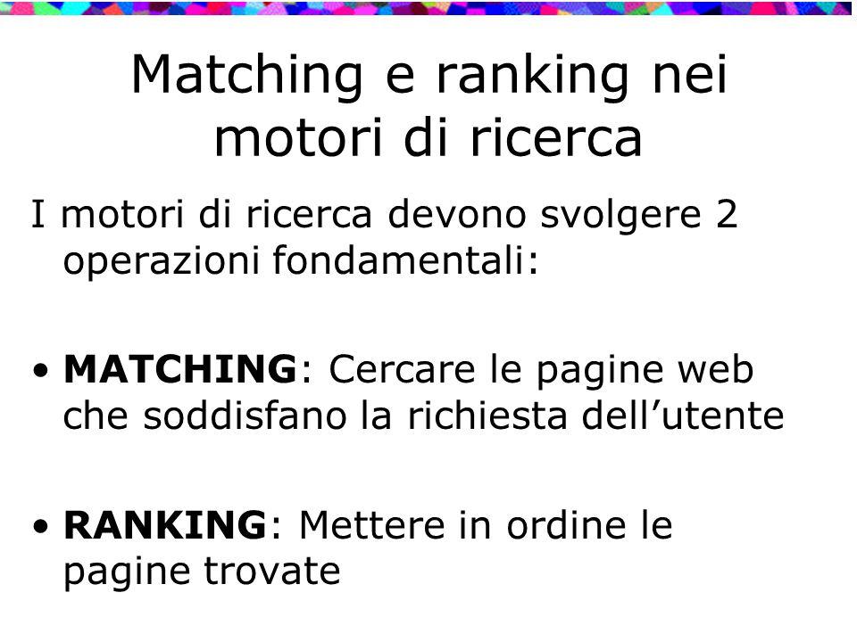 Matching e ranking nei motori di ricerca