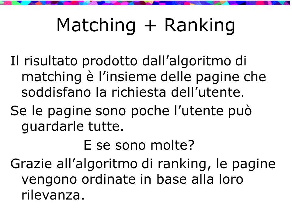 Matching + Ranking