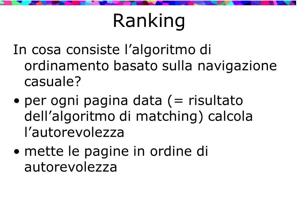 Ranking In cosa consiste l'algoritmo di ordinamento basato sulla navigazione casuale