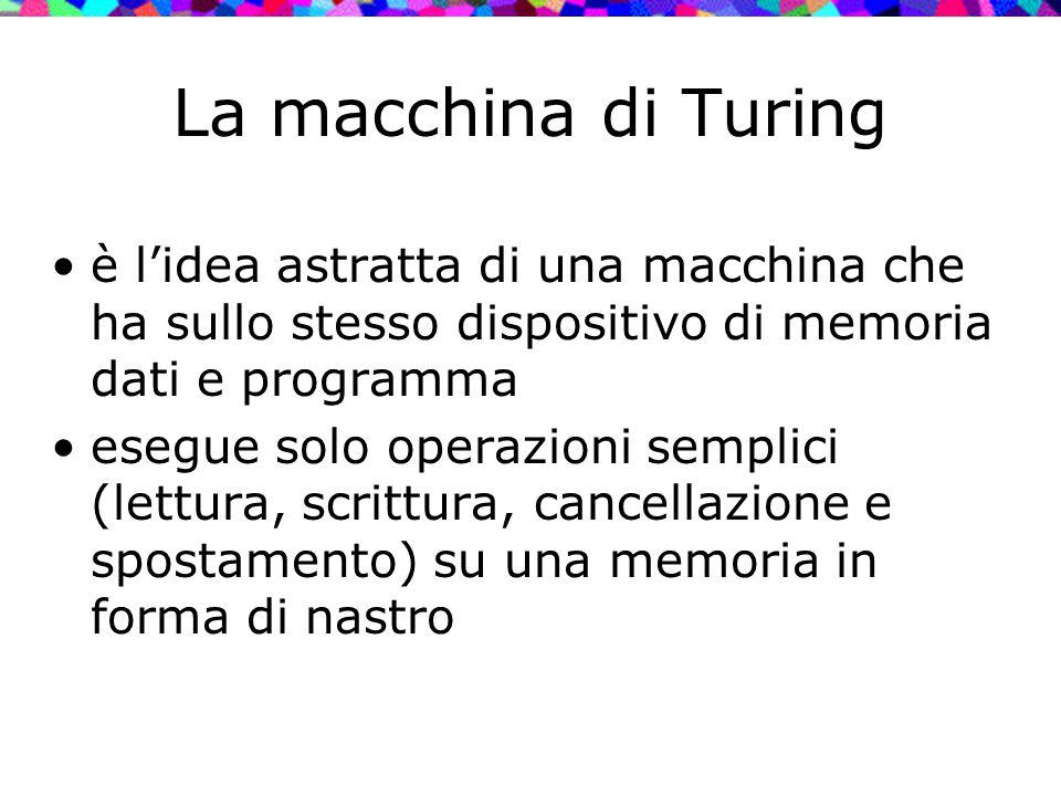 La macchina di Turing è l'idea astratta di una macchina che ha sullo stesso dispositivo di memoria dati e programma.