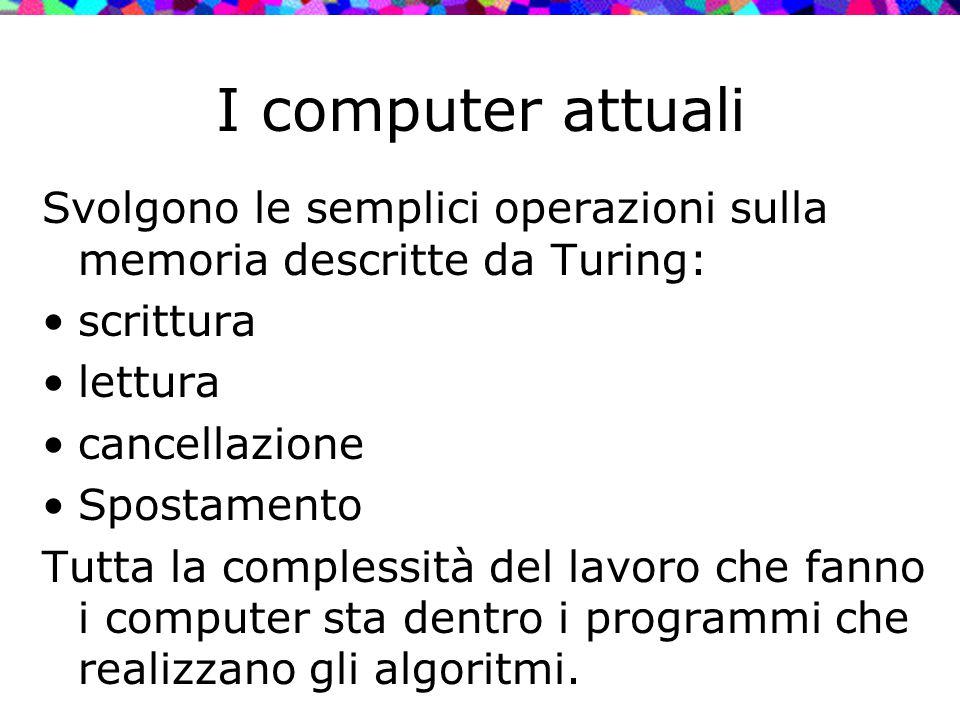 I computer attuali Svolgono le semplici operazioni sulla memoria descritte da Turing: scrittura. lettura.