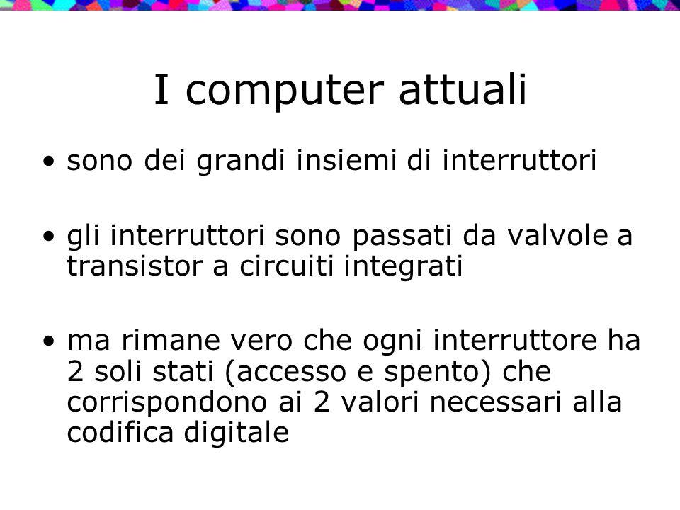 I computer attuali sono dei grandi insiemi di interruttori