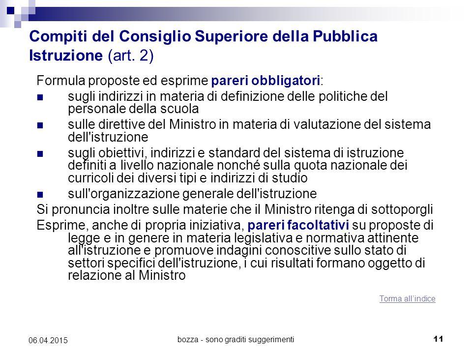 Compiti del Consiglio Superiore della Pubblica Istruzione (art. 2)