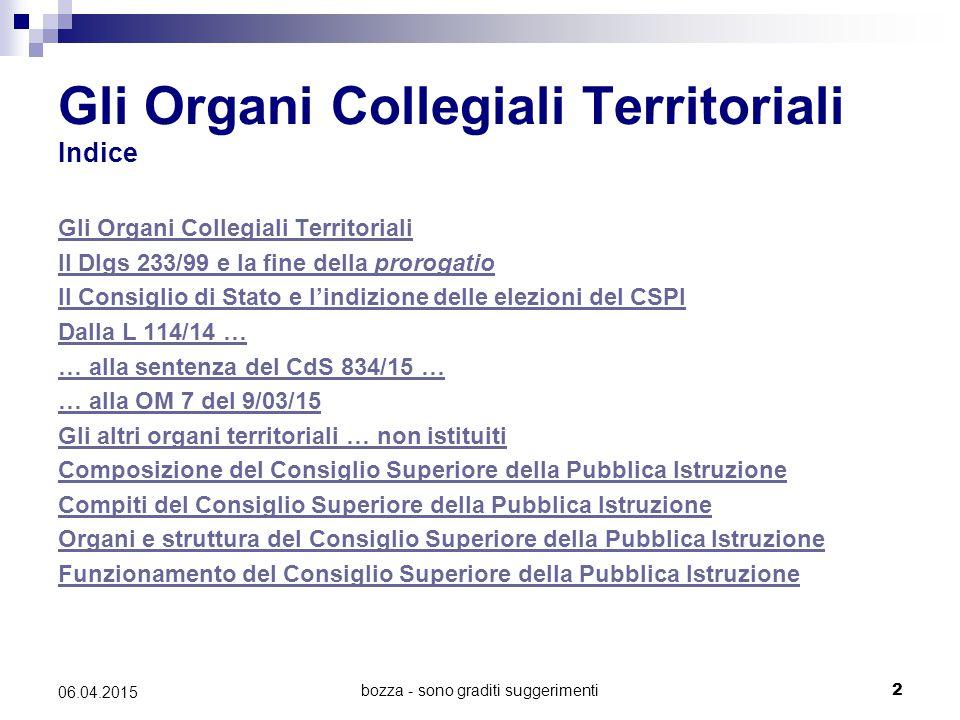 Gli Organi Collegiali Territoriali Indice