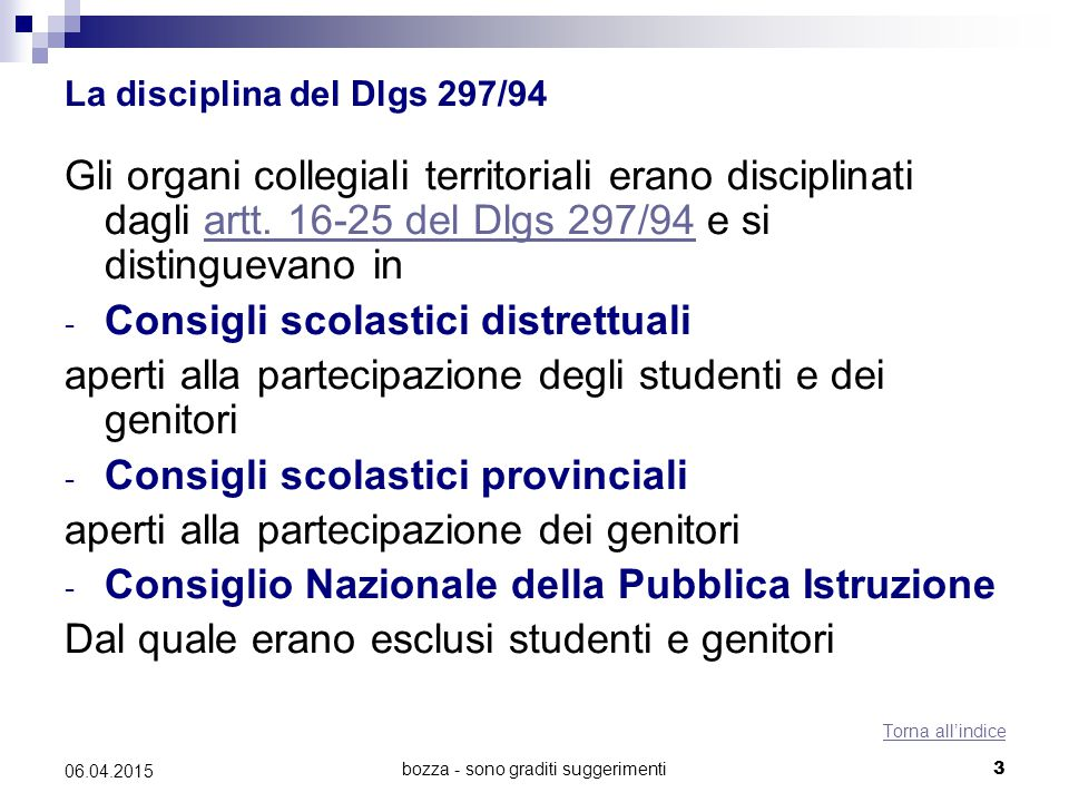 La disciplina del Dlgs 297/94