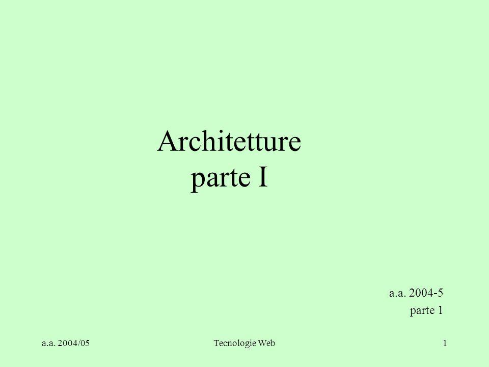 Architetture parte I a.a. 2004-5 parte 1 a.a. 2004/05 Tecnologie Web