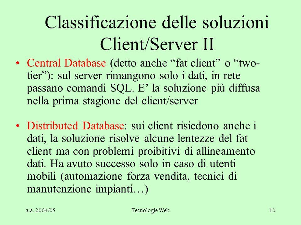 Classificazione delle soluzioni Client/Server II