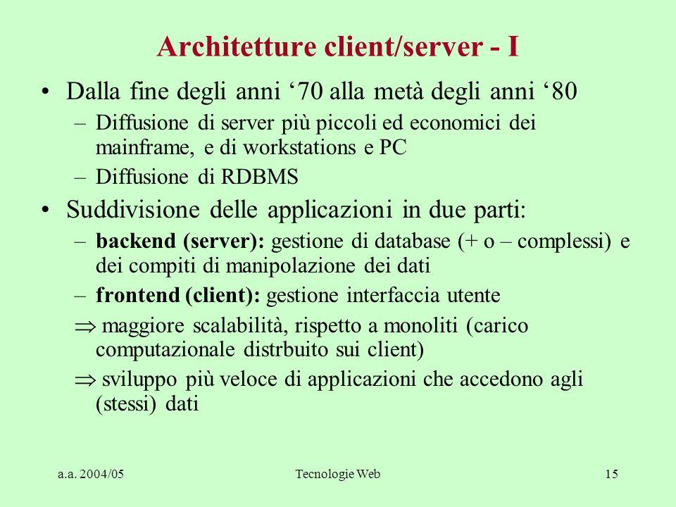Architetture client/server - I