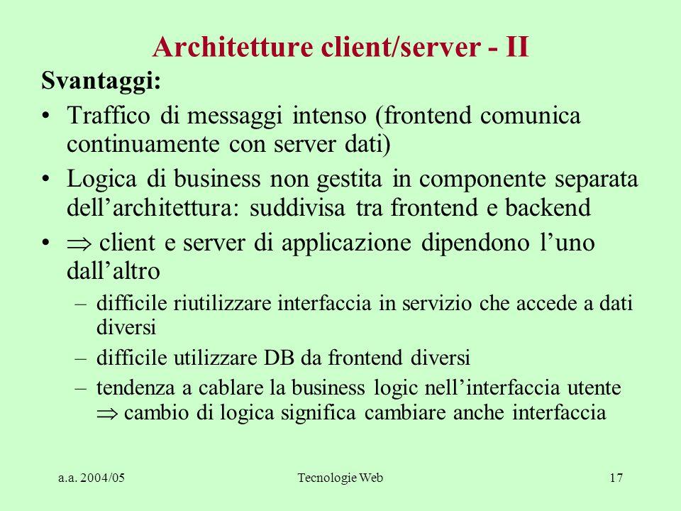 Architetture client/server - II